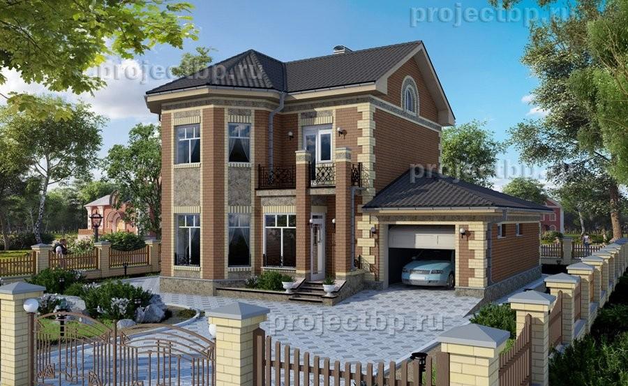 Проект двухэтажного дома с эркером и гаражом 138-B